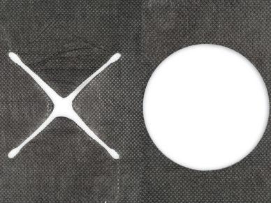 Mulchvlies mit Kreuzschlitz und rund